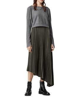 ALLSAINTS - Evetta Pleated Midi Dress With Sweater