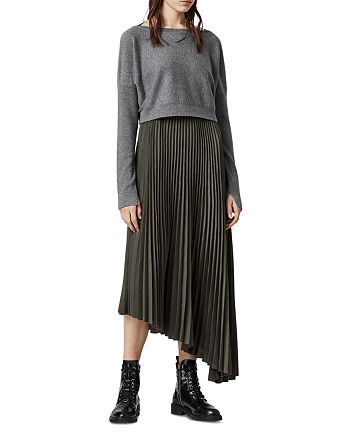ALLSAINTS - Evetta Pleated Midi Dress With Sweater