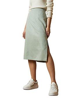 Ted Baker - Narlica Snake-Textured Slit Midi Skirt
