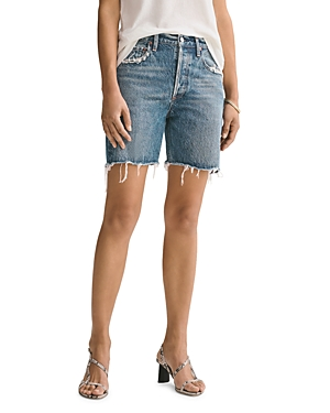 Agolde Rumi Cotton Frayed Denim Shorts in Precision-Women