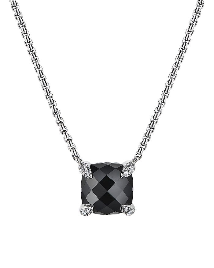 David Yurman - Châtelaine® Pendant Necklace with Black Onyx and Diamonds, 18""