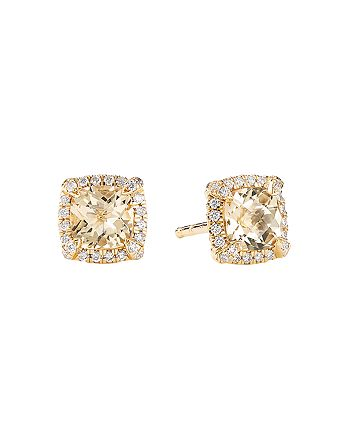 David Yurman - Petite Châtelaine® Pavé Bezel Stud Earrings in 18K Yellow Gold with Champagne Citrine