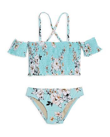 Clements Twins x PQ Swim - Girls' Smocked Two-Piece Swimsuit, Little Kid, Big Kid - 100% Exclusive