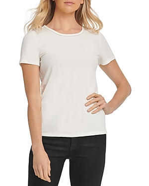Dkny Beaded Ribbed Short-Sleeve Tee