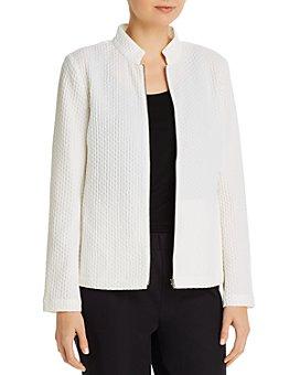 Eileen Fisher - Honeycomb Stand-Collar Zip Jacket