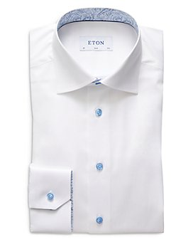Eton - Slim Fit Signature Twill Contrast Paisley Print Dress Shirt