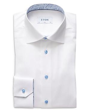 Eton Slim Fit Signature Twill Contrast Paisley Print Dress Shirt