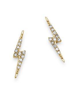Moon & Meadow - 14K Yellow Gold Diamond Lightening Bolt Stud Earrings - 100% Exclusive