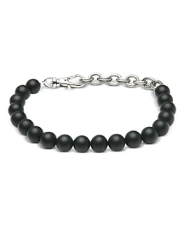 THE MONOTYPE - Silver-Plated Brass Paulo Black Onyx Beaded Bracelet