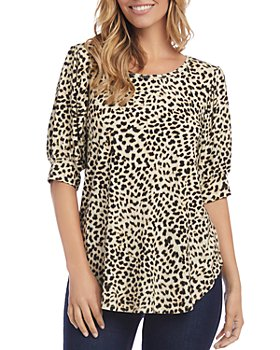 Karen Kane - Printed Shirred-Sleeve Shirt