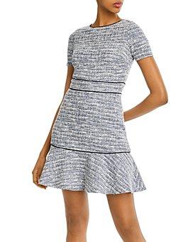 AQUA - Piped Ruffled Hem Dress - 100% Exclusive