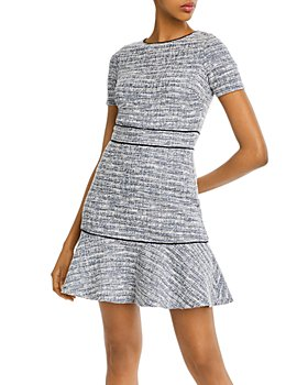 AQUA - Piped Ruffled Hem Dress - 100% Exclusive