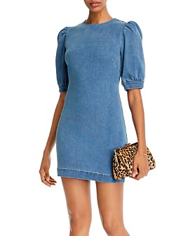 AQUA - Puffed-Sleeve Mini Dress