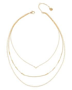 """ALLSAINTS - Gold-Tone Pavé Arrow Layered Necklace, 15""""-17"""""""