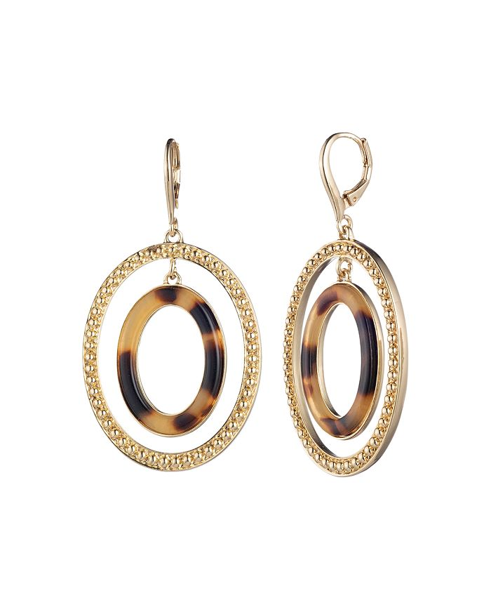 Ralph Lauren - Gold-Tone & Synthetic Tortoise Inlay Orbital Drop Earrings