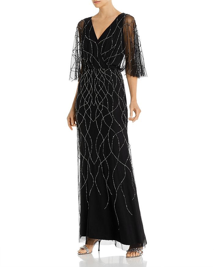 Adrianna Papell - Beaded Flutter-Sleeve Gown - 100% Exclusive