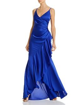 AQUA - Ruffled Wrap Gown - 100% Exclusive