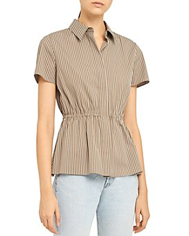 Theory - Short-Sleeve Cinched Stretch Cotton Striped Shirt