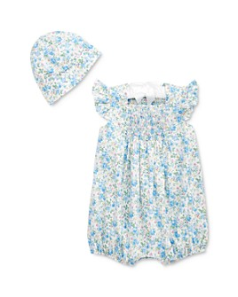 Ralph Lauren - Girls' Cotton Hand-Finished Floral-Print Shortalls & Hat Set - Baby