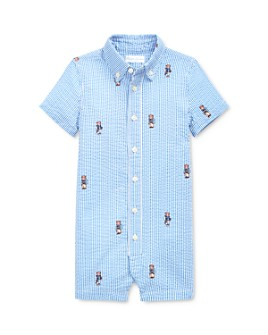 Ralph Lauren - Boys' Cotton Polo Bear-Print Seersucker Shortalls - Baby