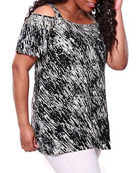 Belldini Plus - Printed Cold-Shoulder Tunic