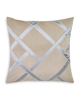 "Charisma - Tristano Embroidered Geometric Decorative Pillow, 20"" x 20"""