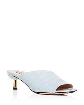 Bally - Women's Carin Croc-Embossed Kitten-Heel Slide Sandals