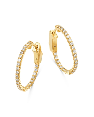 Bloomingdale's Micro-pave Diamond Inside Out Hoop Earrings in 14K Yellow Gold, 0.5 ct. t.w. - 100% E