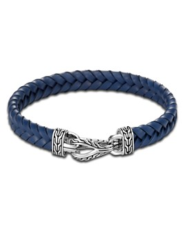 JOHN HARDY - Sterling Silver & Blue Leather Classic Chain Asli Braided Cord Bracelet