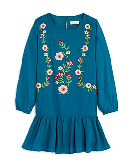 Hayden Los Angeles - Girls' Cotton Embroidered Ruffled Dress - Big Kid