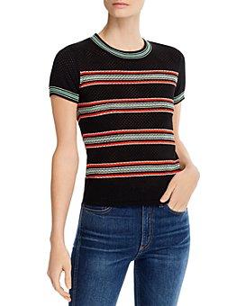 rag & bone - Darcie Striped Open-Knit Tee