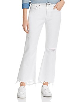 rag & bone - Rosa Cropped Boyfriend Jeans in Distressed Off-White