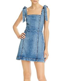 Alice and Olivia - Maryann Tie-Shoulder Denim Mini Dress