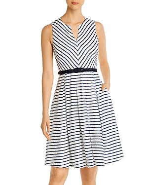 Karl Lagerfeld Paris Striped Belted Dress-Women