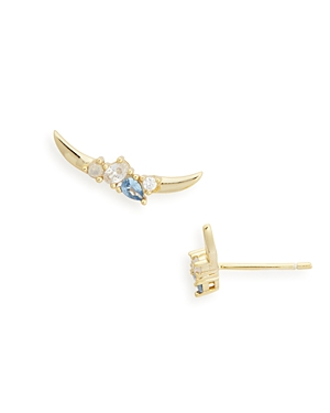Argento Vivo Cubic Zirconia & Stone Curved Bar Stud Earrings