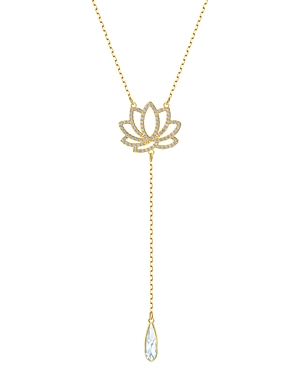 Swarovski Crystal & Lotus Lariat Necklace, 15-17