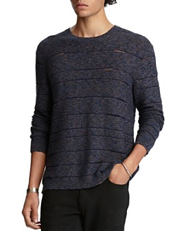 John Varvatos Collection - Cotton-Blend Knit-Stripe Easy Fit Crewneck Sweater