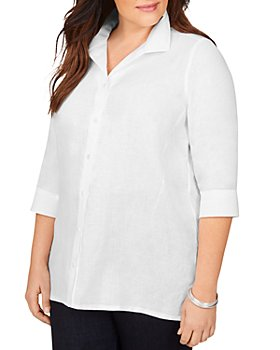 Foxcroft Plus - Stirling Non-Iron Linen Shaped Tunic