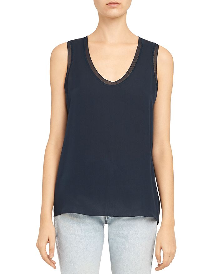 Theory - Ribbed Trim Silk Scoop Tank Top