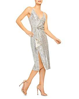 Aidan by Aidan Mattox - Draped Sequinned Midi Dress