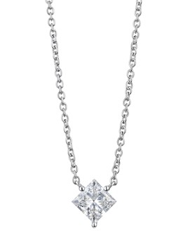 """Lightbox Jewelry - Lab-Grown Diamond Princess-Cut Pendant Necklace in Sterling Silver, 1.12 ct. t.w., 16""""-18"""""""