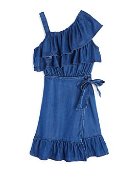 Habitual Kids - Girls' One-Shoulder Ruffled Faux-Wrap Dress - Big Kid
