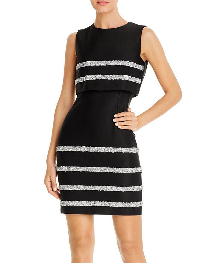 PAULE KA - Sequin-Stripe Popover Sheath Dress