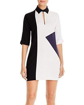 PAULE KA - Colorblocked Satin Shirt Dress