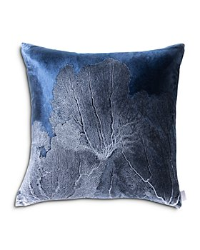 "Aviva Stanoff - Navy Seafan Decorative Pillow, 20"" x 20"""