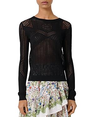 Maje Maelys Open-Knitwork Sweater-Women