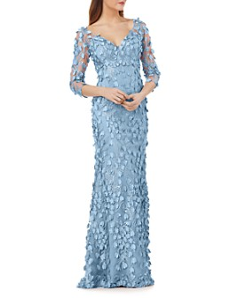 Carmen Marc Valvo Infusion - Floral Appliqué Illusion Gown - 100% Exclusive