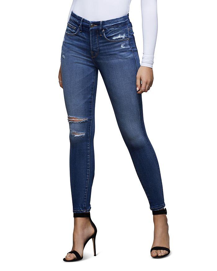 Good American - Good Legs Ripped Skinny Jeans in Blue377, Regular & Plus