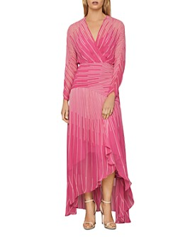 BCBGMAXAZRIA - Sunburst High/Low Chiffon Dress