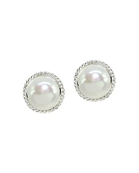 AQUA - Cultured Freshwater Pearl Halo Button Earrings - 100% Exclusive